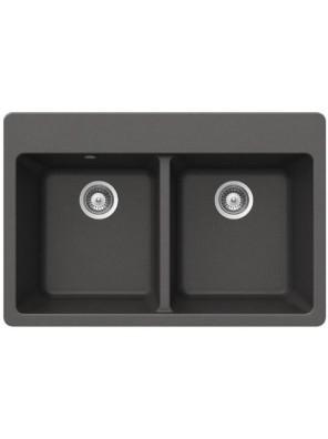 BARENO ALIVE N-200(Stone) 2 Bowl Cristadur Granite Sink