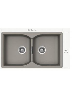 BARENO CAMPUS N-200 (BETOM) 2 Bowl Cristalite Granite Sink