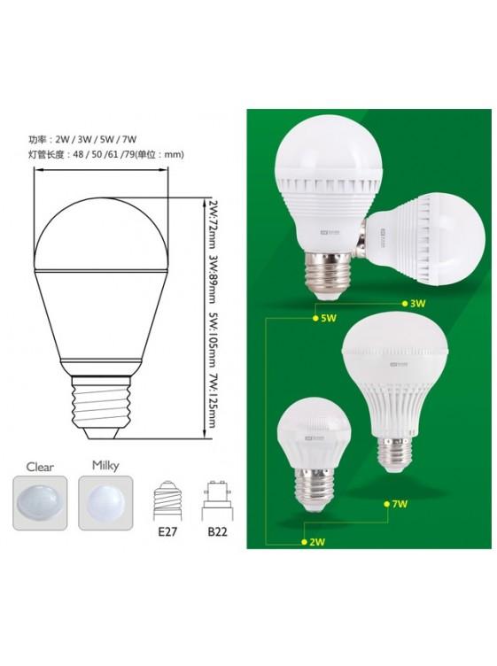 DICKEN 3W PC LED Bulb-Cool White; Clear LS0051 E27