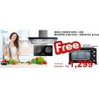 Midea Cooker Hood MCH-90TM1 + Hob MGH-2411GL  FREE OVEN