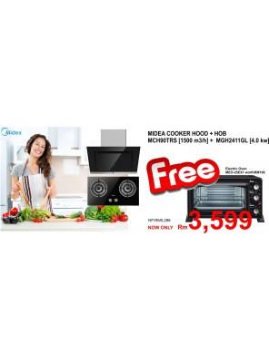 Midea Cooker Hood MCH-90TRS + Hob MGH-2411GL FREE OVEN