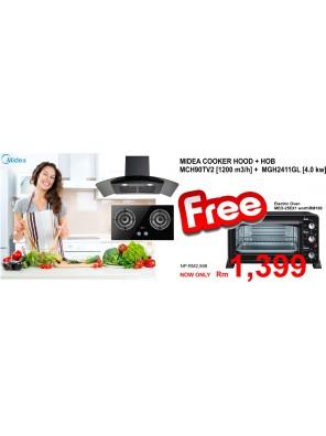 Midea Cooker Hood MCH-90TV2 + Hob MGH-2411GL FREE OVEN