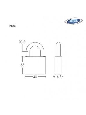 ST.GUCHI  40mmx4pc K/Alike Anti Rust Brass Pad Lock PL-80