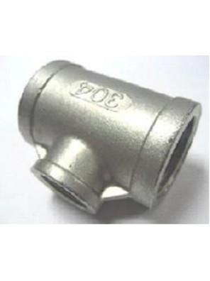 """S/Steel Reducing Tee 40mm (1-1/2"""") x 20mm (3/4"""") S.S 304"""