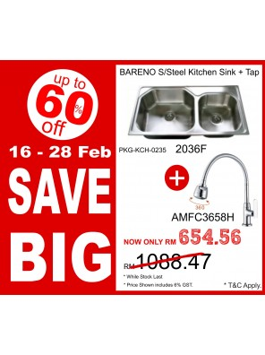 BARENO Sink 2036F + Flexible Sink Tap AMFC3658H