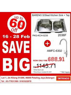 BARENO Sink 2036F + S/Steel Finish Sink Tap AMFC6302