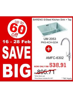 BARENO Sink UM2053 + S/Steel Finish Sink Tap AMFC6302