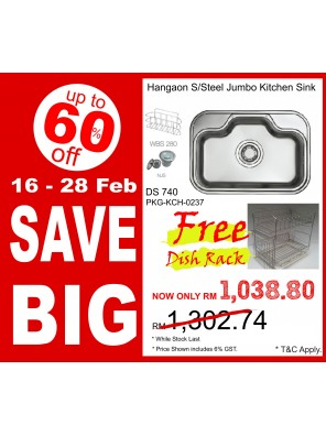 HANGAON  Kitchen Sink DS740 FREE Dish Rack