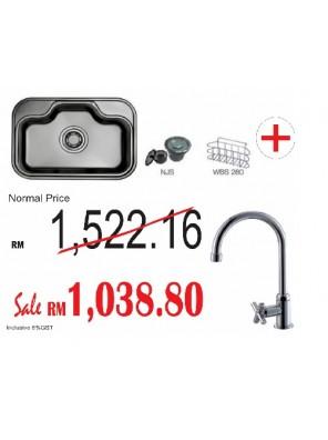 HANGAON  Kitchen Sink DS740 + Johnson Suisse Sink Tap  Asti