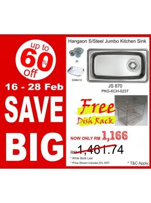 HANGAON  Kitchen Sink JS870 FREE Dish Rack