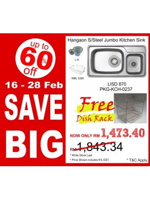 HANGAON  Kitchen Sink LISD870  FREE Dish Rack