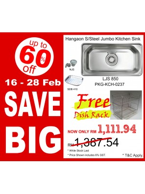 HANGAON  Kitchen Sink LJS850 FREE Dish Rack