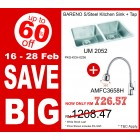 BARENO Sink UM2052 + Flexible Sink Tap AMFC3658H