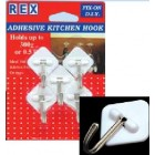 REX 1064 Adhesive Kitchen Hook  5pcs/pack