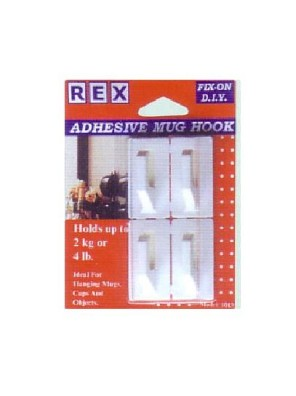 REX 1013 Adhesives Abs Mug Hook 4pcs/pack