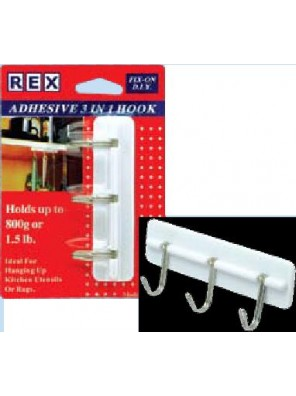 REX 1063 Adhesive 3 In 1 Kitchen Hook 1 pc/pack