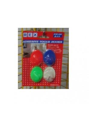 REX 1254 Adhesive Vogue Hook-Colour 4pcs/pack