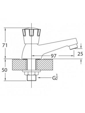 """J.SUISSE 1/2"""" Basin Pillar Tap Extended Spout WBFA300597CP"""