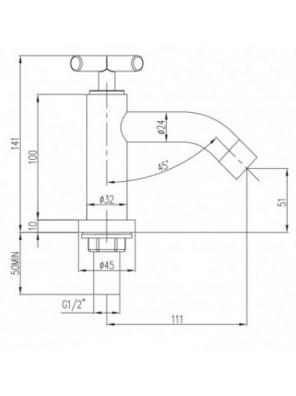 "J.SUISSE ASTI 1/2"" Basin Pillar Tap (Curve) WBFA300703CP"