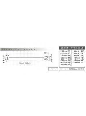 "TECHPLAS 10"" PVC Flex.Hose c/w Long Nut Code:4106-LLN"