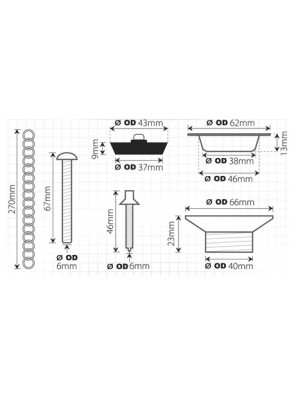 TECHPLAS  Waste c/w Plug & Plastic Chain S.S Top Code:2112