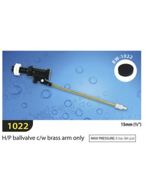 TECHPLAS 15mm H/Pressure B/Valve w Brass Arm Only Code:1022