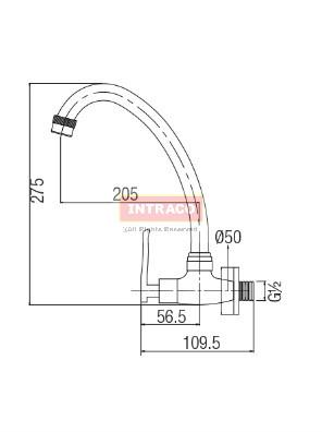 AIMER Brass Chrome Kitchen Wall Sink Tap AMFC-1301