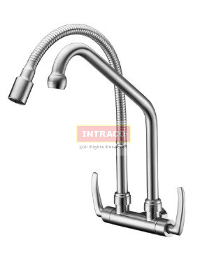 AIMER Brass S.N Kitchen Wall D/Flexible Hose & L Spout Sink Tap AMFC-1940A