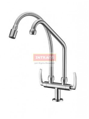 AIMER Brass S.N Kitchen Pillar D/Flexible Hose & L Spout Sink Tap AMFC-1941A