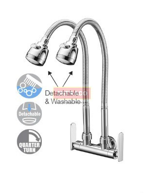 AIMER Brass Chromed D/Flexible Hose Kitchen Wall Sink Tap AMFC-3659H