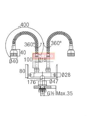 AIMER Brass Chromed D/Flexible Hose Kitchen Pillar Sink Tap AMFC-3660H