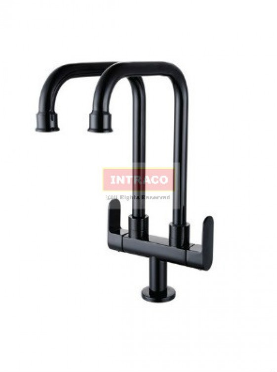 AIMER Brass Black Double Spout Kitchen Pillar Sink Tap  AMFC-7578