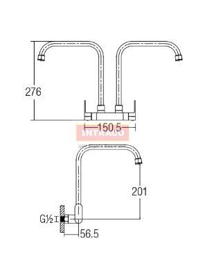 AIMER Brass Black Double Spout Kitchen Wall Sink Tap AMFC-7579