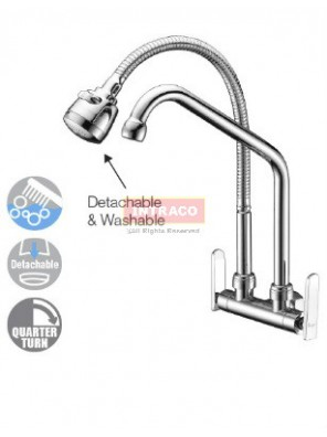 AIMER Brass Chrome Kitchen Wall Flexible Hose & L Spout Sink Tap AMFC-3640A