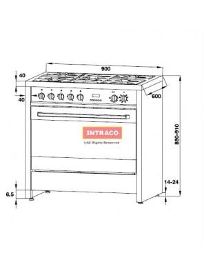 HAFELE HARC1 534.02.003 Professinal range cooker; SIZE: 900 X 600 X 900mm