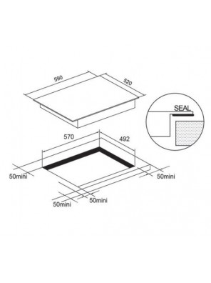 HAFELE 538.06.141 4Induction cooking hob; Size: 590W X 520D mm