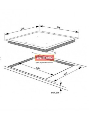 HAFELE HC-1604B 535.02.201 4 Induction cooking hob; Size: 576W X 518D X55H mm