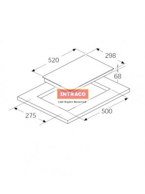 HAFELE HC-1302B-536.01.670 2 INDUCTION COOKING HOB; SIZE: 298W X 520D X68H mm