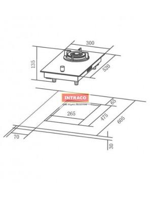 HAFELE HC-GD30A-538.01.800 Single gas burner hob; Size: 300W X 520D mm