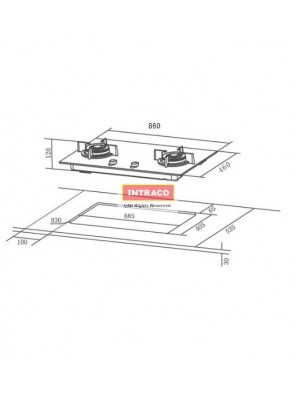 HAFELE HC-GH80A3-538.01.837 3 gas burner hob; Size: 860W X 460D mm