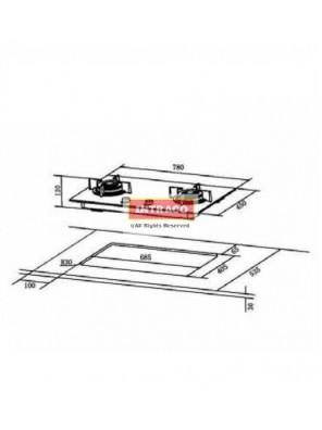 HAFELE HC-GH78A-538.01.815 2 gas burner hob; Size: 780W X 450D mm