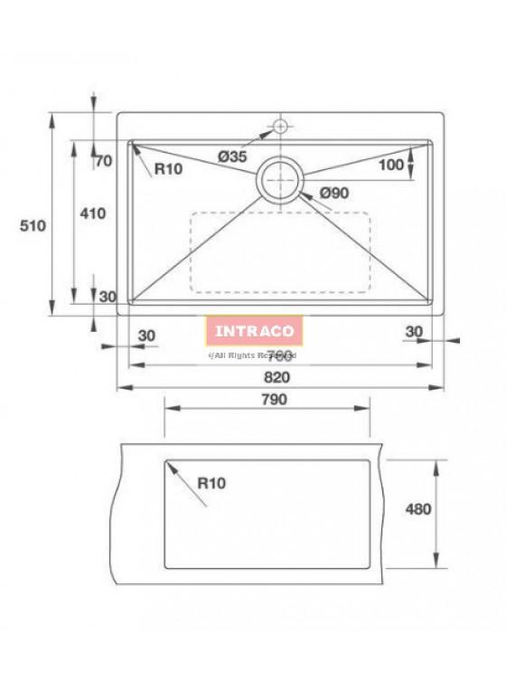 HAFELE  HS-S8251-567.40.080 S/Bowl; T/Mount; S/S INOX Sink; Size: 820W X 510D X 1.2mm thk
