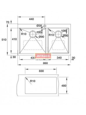 HAFELE HS-S8657-567.40.050 D/Bowl; T/Mount; S/S INOX Sink; Size: 860W X 570D X 1.2mm thk