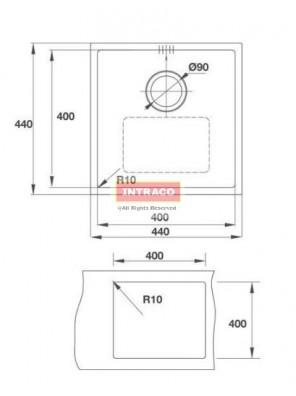 HAFELE HS-S4444-567.20.230 S/Bowl; U/Mount; S/S INOX Sink; Size: 440W X 440D X 1.2mm thk