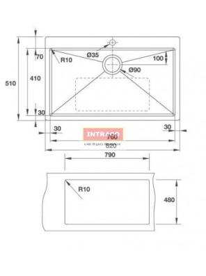 HAFELE HS-S8247-567.43.080 S/Bowl; U/Mount; S/S INOX Sink; Size: 820W X 470D X 1.2mm thk