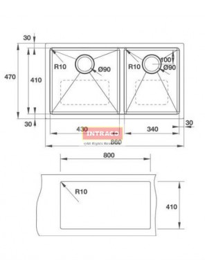 HAFELE HS-S8647-567.43.050 D/Bowl; U/Mount; S/S INOX Sink; Size: 860W X 470D X 1.2mm thk
