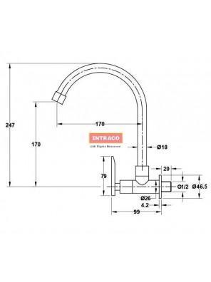 HAFELE HF-JL321-570.52.231 Brass chrome kitchen cold tap