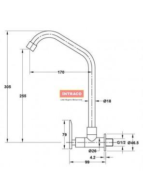 HAFELE HF-JL331-570.52.241 Brass chrome kitchen cold tap