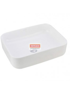 JOHNSON SUISSE WBVC950141WW VALENCIA SLIM RECTANGULAR COUTERTOP BASIN; 500 X 400MM (WHITE)