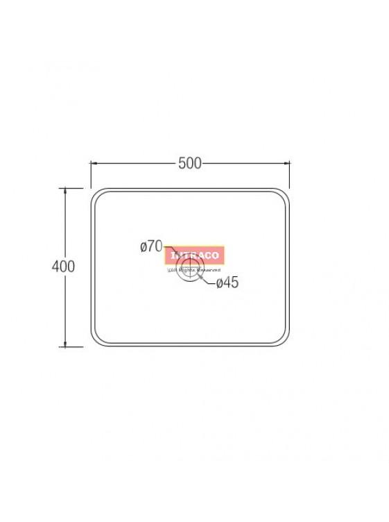 JOHNSON SUISSE WBVC950141WW VALENCIA SLIM RECTANGULAR COUTERTOP BASIN; 500 X 400MM (WHITE)